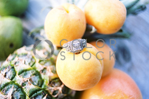 Ring on top of tropical fruits
