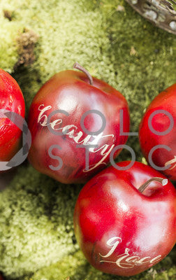 Apples on green background - vertical 2