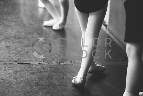 Children at ballet class - B&W