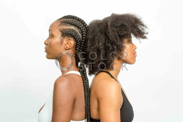 Braided and natural hair models looking away from the camera - 2 - Colorstock™  © Click Clique NYC  - diverse stock photos
