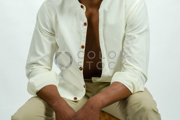 Male model's open shirt - Colorstock™  © Click Clique NYC  - diverse stock photos