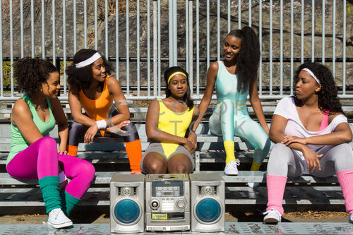 Aerobics class members with boombox - 2 - Colorstock™  © Click Clique NYC  - diverse stock photos