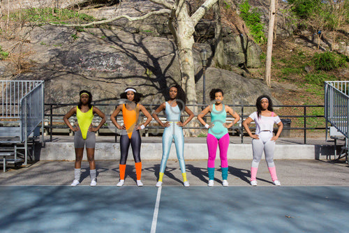 Aerobics class members - standing on tennis court - Colorstock™  © Click Clique NYC  - diverse stock photos