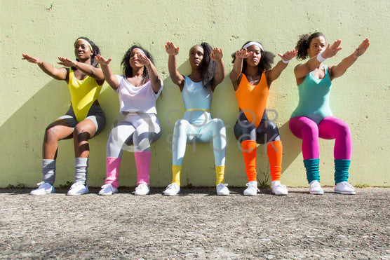 Aerobics class doing wall exercises - Colorstock™  © Click Clique NYC  - diverse stock photos