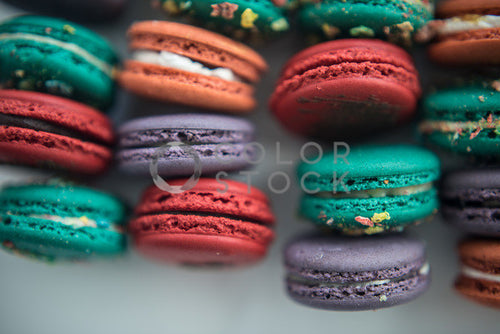 Assorted macaroons - close up - Colorstock™  © Sirena White  - diverse stock photos