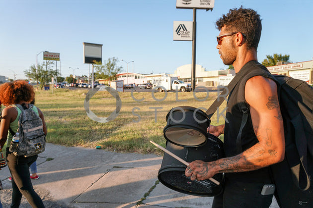Drummer marching for social justice