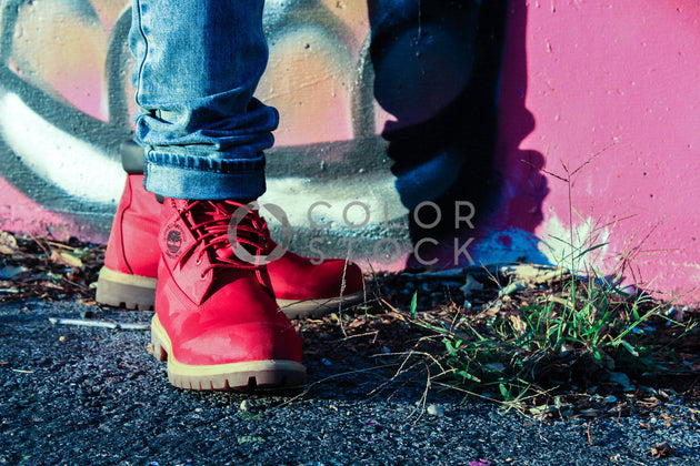 Standing near graffiti in the city - close up of boots, Dream Free Photography - Colorstock: diverse stock photos