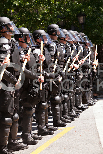 Riot gear police officers standing in a row
