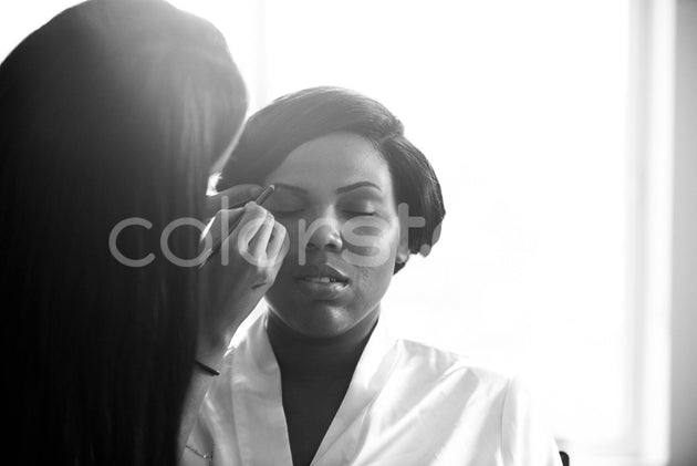 Bride receiving makeup application - Colorstock™  © Integrative Flash  - diverse stock photos