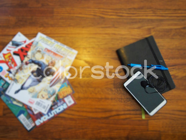 Comics and mini podcast studio with planner - Colorstock™  © Jenifer Daniels  - diverse stock photos