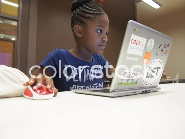 Girl working on her computer - Colorstock™  © Jenifer Daniels  - diverse stock photos