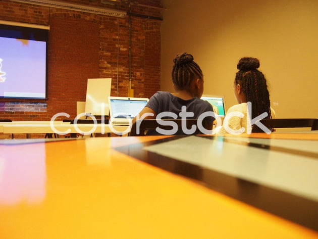 Girls in computer coding class - Colorstock™  © Jenifer Daniels  - diverse stock photos