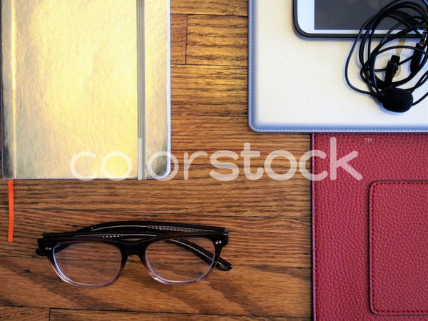 Glasses, planner, and mini podcast studio - Colorstock™  © Jenifer Daniels  - diverse stock photos