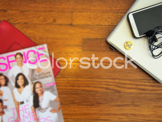 Magazine, flair, laptop and mini podcast studio - Colorstock™  © Jenifer Daniels  - diverse stock photos