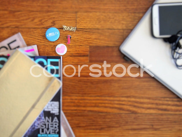 Magazines, flair, laptop and mini podcast studio - Colorstock™  © Jenifer Daniels  - diverse stock photos