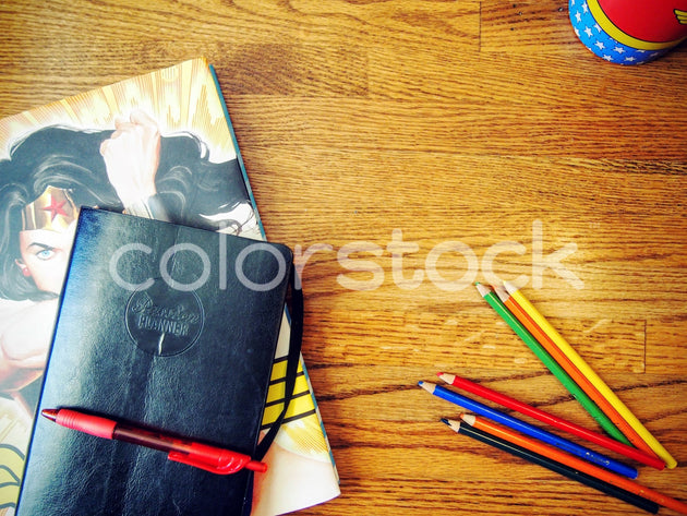 Superhero desktop with planner and pencils - Colorstock™  © Jenifer Daniels  - diverse stock photos