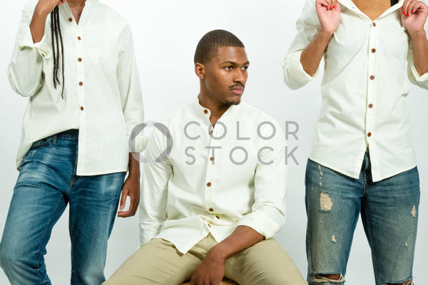 Models at a photo shoot - focus on male model - Colorstock™  © Click Clique NYC  - diverse stock photos