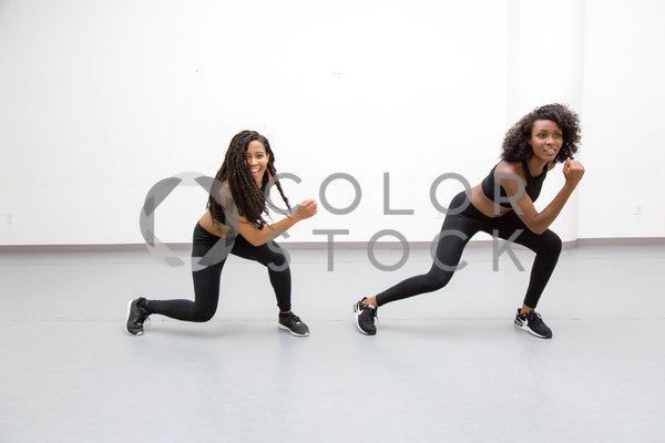 Two women in dance class - routine - Colorstock™  © Click Clique NYC  - diverse stock photos