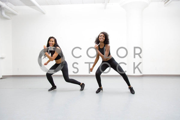 Two women in dance class - routine 4 - Colorstock™  © Click Clique NYC  - diverse stock photos