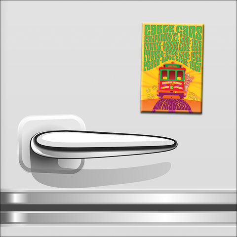 "GF03F - 2"" x 3"" Cable Car Peace-Love Line Magnet"