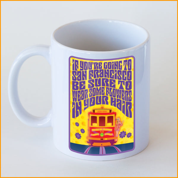 Psychedelic 'Wear Some Flowers' Cable Car Coffee Mug