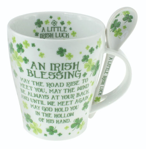 Irish Clover Blessing Mug and Spoon Set