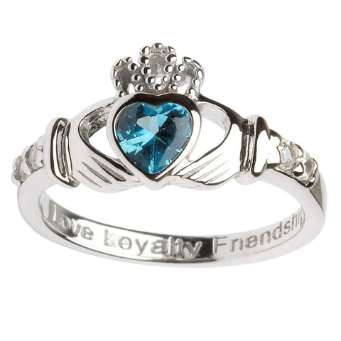 Claddagh Birthstone  Ring| December