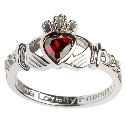 Claddagh Birthstone Ring | January