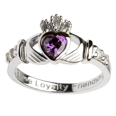 Claddagh Birthstone Ring | February