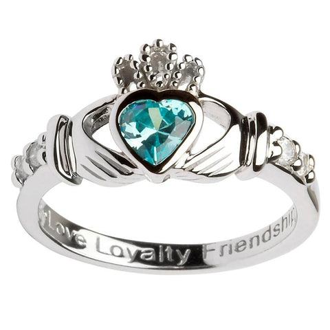 Claddagh Birthstone Ring | March