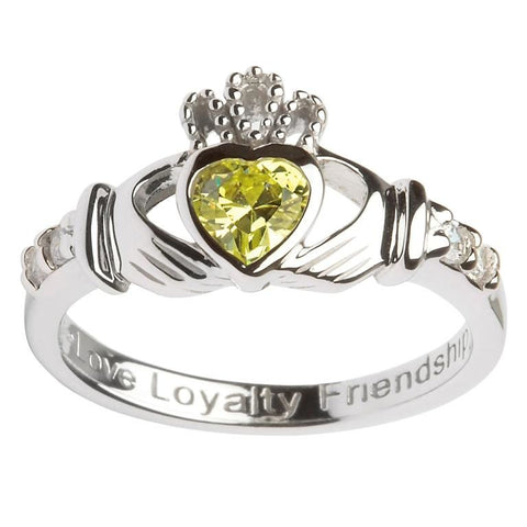 Claddagh Birthstone Ring | August