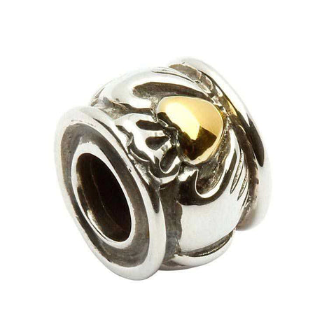 Bead | Round Silver Claddagh Bead with Gold Plate Heart