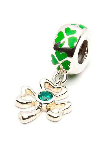 Enamel Shamrock Dangle Charm