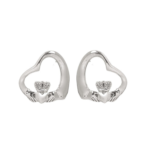 Claddagh Floating Heart Earrings