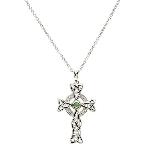 SharOre Green Trinity Knot Cross Necklace