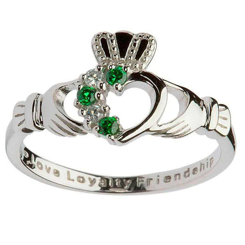 Claddagh Stone Heart Ring