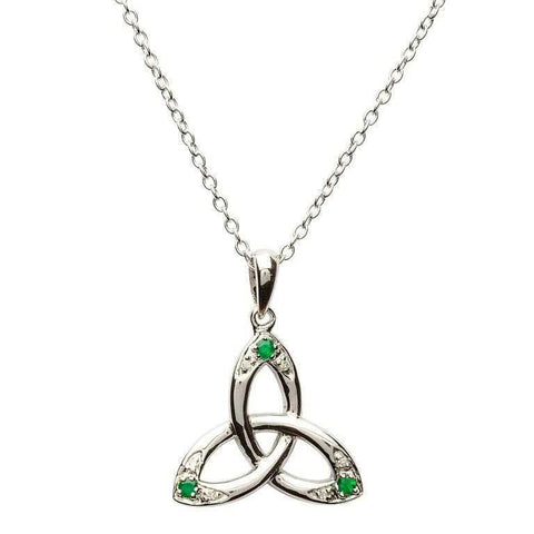 SharOre Emerald Trinity Knot Necklace