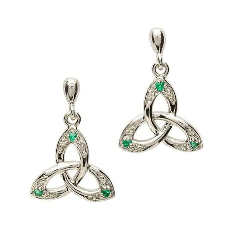 Emerald Trinity Knot Earrings