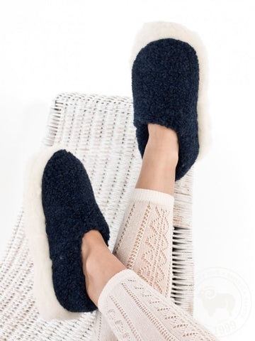 Slipper | Siberian Dark Blue Wool Slippers