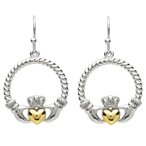 Platinum Plated Rope Claddagh Earrings
