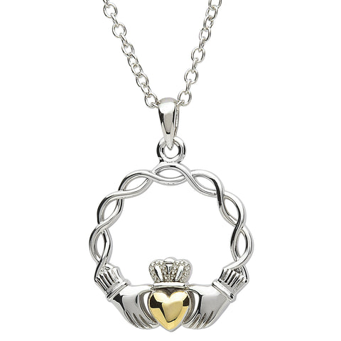 SharOre Platinum Plated Weave Claddagh Necklace