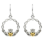 Platinum Plated Weave Claddagh Earrings