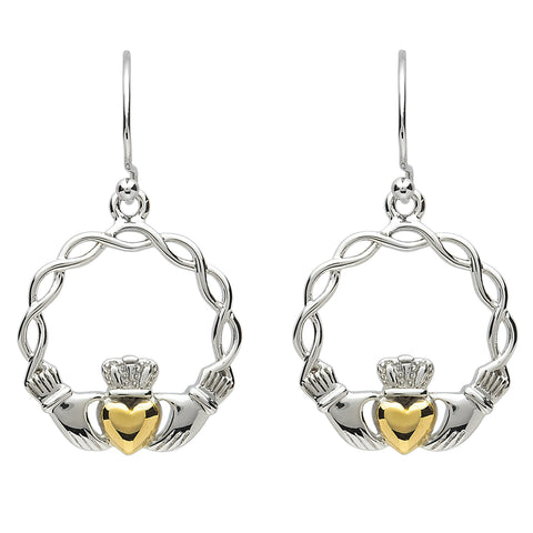 Earrings | Platinum Plated Weave Claddagh