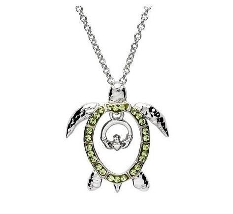SharOre Swarovski Turtle with Claddagh Necklace