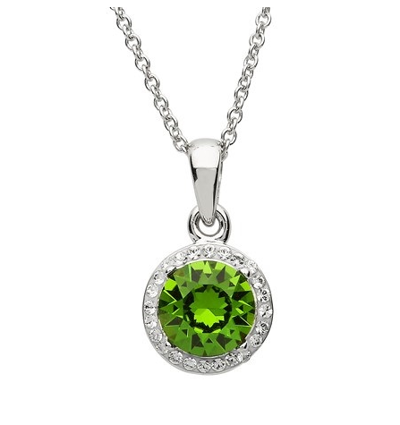 Green and White Swarovski Halo Necklace