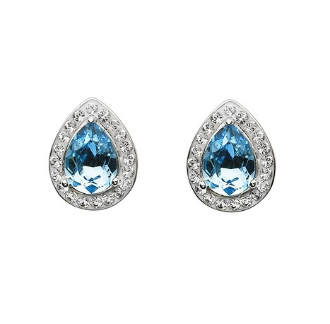 Aqua Swarovski Tear Drop Earrings