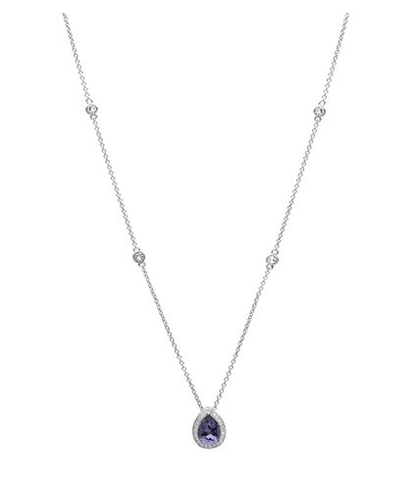 SharOre Swarovski Tanzanite Tear Drop Necklace
