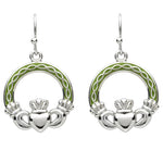 Platinum Plated Green Celtic Claddagh Earrings