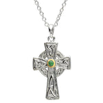 SharOre Platinum Plated Emerald Trinity Cross Necklace