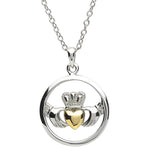 Necklace | Platinum Plated Encircled Claddagh